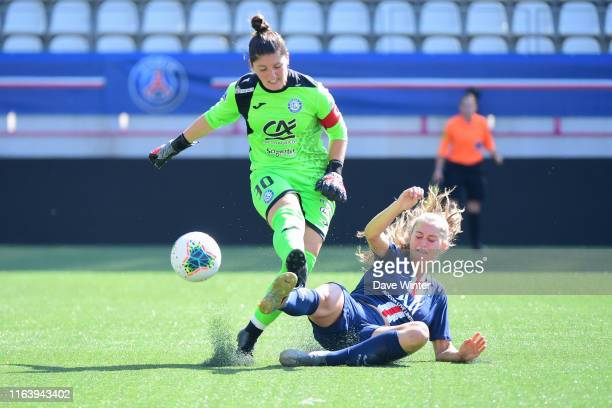 Jordyn Huitema of PSG and Romane Munich of Soyaux during the D1 Arkema match between Paris Saint Germain and AS SoyauxCharente on August 25 2019 in...
