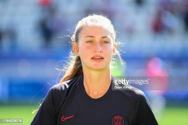 Jordyn Huitema of PSG warms up before the D1 Arkema match between Paris Saint Germain and AS SoyauxCharente on August 25 2019 in Paris France