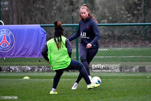 Jordyn Huitema runs with the ball during a Paris SaintGermain Women training session on January 03 2020 in Paris France