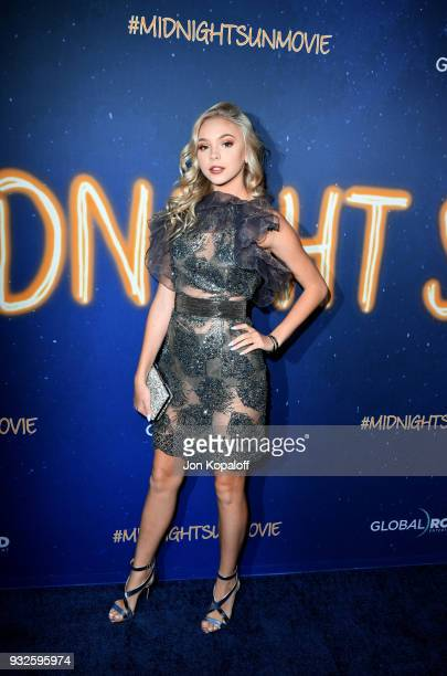 Jordyn Jones attends Global Road Entertainment's world premiere of 'Midnight Sun' at ArcLight Hollywood on March 15 2018 in Hollywood California