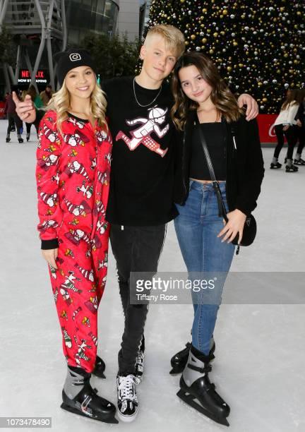 Jordyn Jones Carson Luders and Annie Leblanc attend Instagram's #Instaskate 2018 at LA Kings Holiday Ice LA Live on November 27 2018 in Los Angeles...