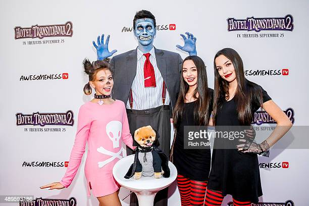 Jordyn Jones Collins Key and the Merrell Twins pose with Jiff The Pomeranian at the Hotel Transylvania 2 Special Screening Hosted By Awesomeness TV...