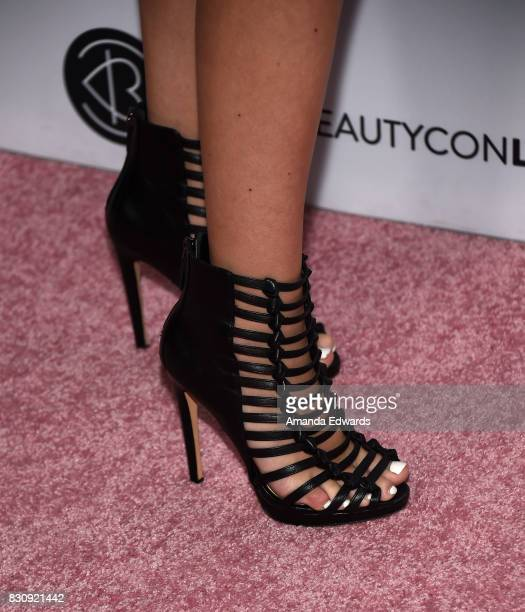 Jordyn Jones shoe detail attends the 5th Annual Beautycon Festival Los Angeles at the Los Angeles Convention Center on August 12 2017 in Los Angeles...