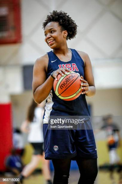 Jordyn Oliver of Prosper Texas laughs while participating in tryouts for the 2018 USA Basketball Women's U17 World Cup Team at the United States...