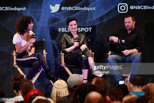 Jordyn Rolling Jaimie Alexander and Sullivan Stapleton speak onstage at the WBTV Panel Block Blindspot panel during New York Comic Con at Jacob...