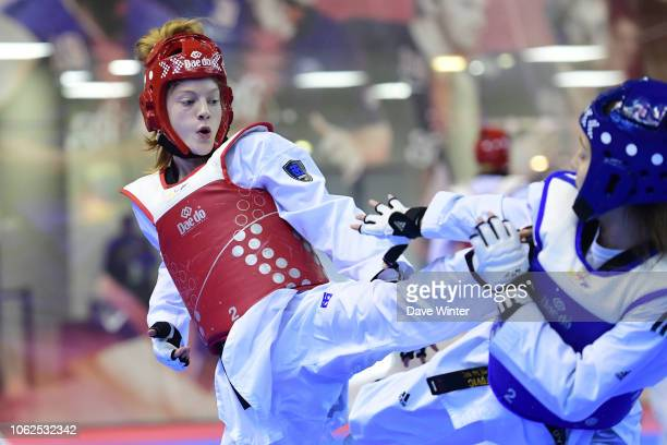 Jordyn Smith of Great Britain and Teodora Jovic of Serbia during the Taekwondo French Open on November 16 2018 in Paris France
