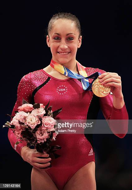 Jordyn Weiber of the USA celebrates with her Gold Medal after victory in the Women's All Around Final during day seven of the Artistic Gymnastics...