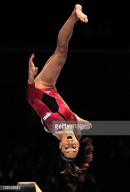 Jordyn Weiber of the USA competes on the Balance Beam aparatus of the Women's All Around Final during day seven of the Artistic Gymnastics World...