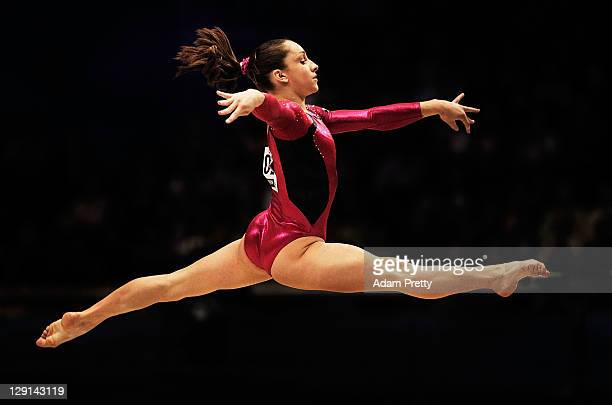 Jordyn Weiber of the USA competes on the Floor aparatus of the Women's All Around Final during day seven of the Artistic Gymnastics World...