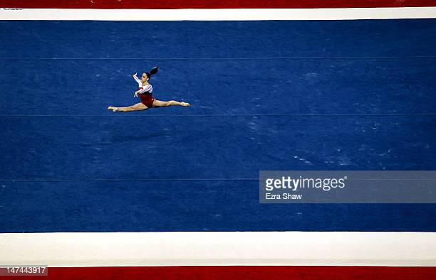 Jordyn Wieber competes on the floor exercise during day 2 of the 2012 US Olympic Gymnastics Team Trials at HP Pavilion on June 29 2012 in San Jose...