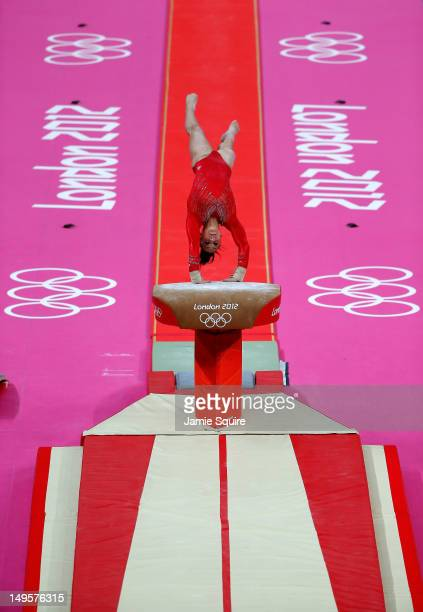 Jordyn Wieber of the United States of America competes on the vault in the Artistic Gymnastics Women's Team final on Day 4 of the London 2012 Olympic...