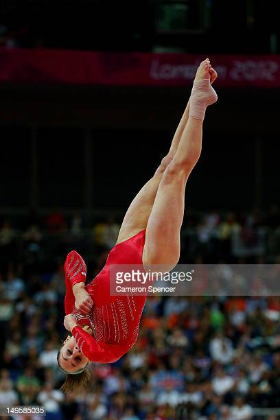 Jordyn Wieber of the United States performs on the floor exercise in the Artistic Gymnastics Women's Team final on Day 4 of the London 2012 Olympic...