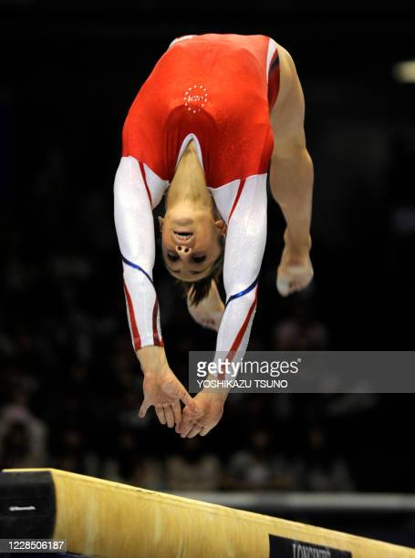Jordyn Wieber of the US performs on the balance beam in the women's team event at the World Gymnastics Chmapionships in Tokyo on October 11 2011 The...
