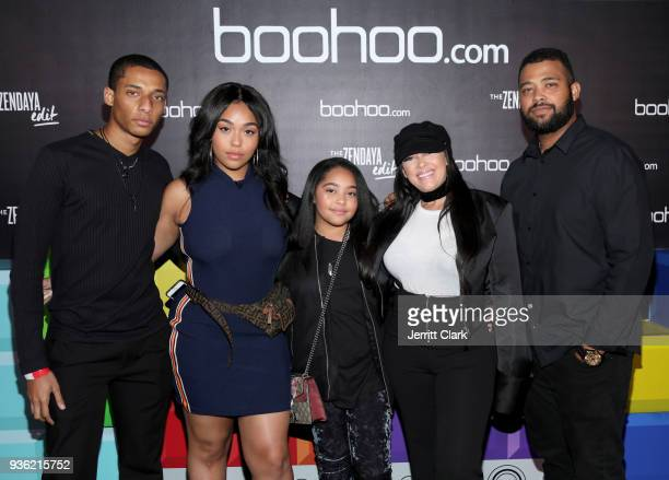 Jordyn Woods and Family attend the launch of the boohoocom spring collection and the Zendaya Edit at The Highlight Room at the Dream Hollywood on...
