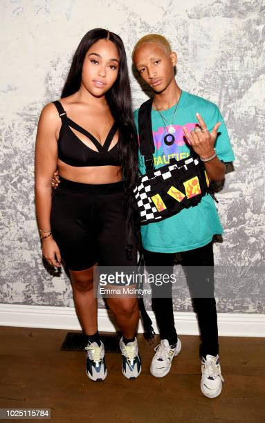 Jordyn Woods and Jaden Smith attend the launch event of the activewear label SECNDNTURE by Jordyn Woods at a private residence on August 29, 2018 in...