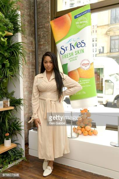 Jordyn Woods at the St Ives Mixing Bar in Flatiron creating custom scrubs and lotions on June 15 2018 in New York City