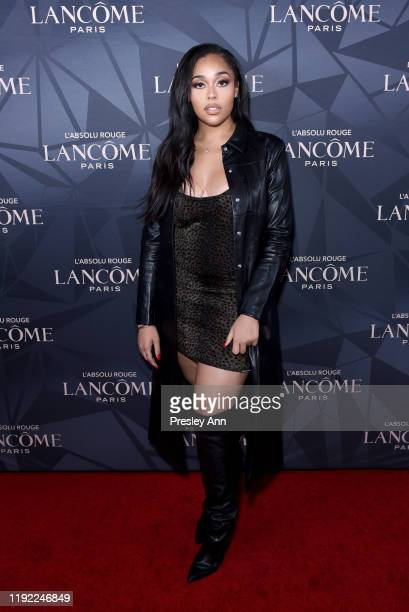 Jordyn Woods attends Lancôme x Vogue L'Absolu Ruby Holiday Event at Raspoutine on December 05 2019 in West Hollywood California