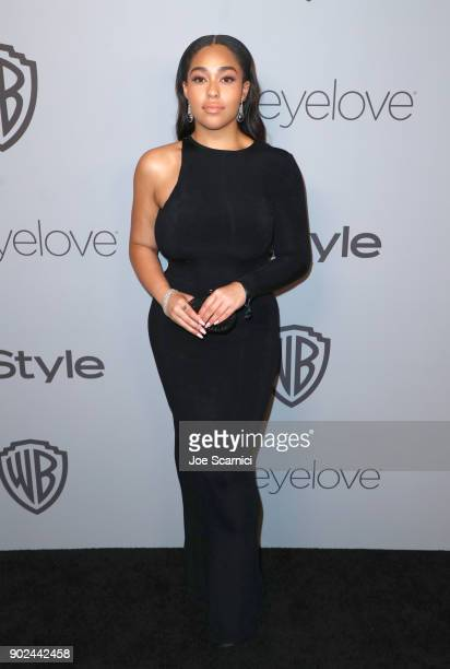 Jordyn Woods attends the 2018 InStyle and Warner Bros 75th Annual Golden Globe Awards PostParty at The Beverly Hilton Hotel on January 7 2018 in...
