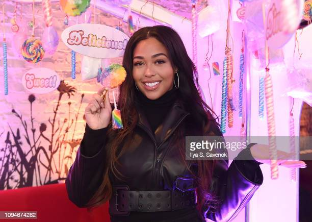 Jordyn Woods attends the Candy Crush Friends Saga Sweet n Solo Valentine's Day Dining Experience at Dirt Candy on February 6 2019 in New York City