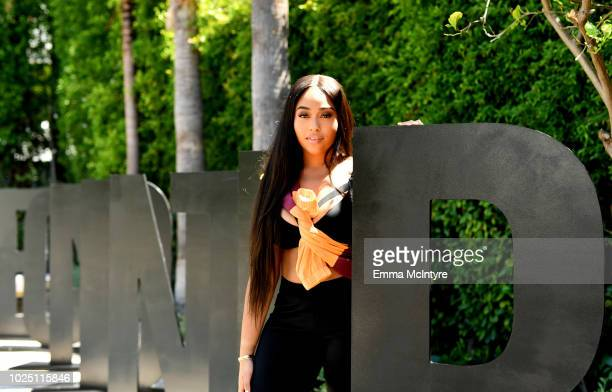 Jordyn Woods attends the launch event of the activewear label SECNDNTURE by Jordyn Woods at a private residence on August 29 2018 in West Hollywood...
