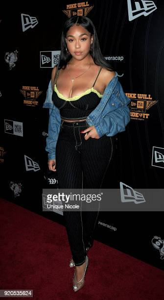 Jordyn Woods attends the New Era Cap Presents Mike Will Made It Premiere Party at 1OAK on February 18 2018 in West Hollywood California