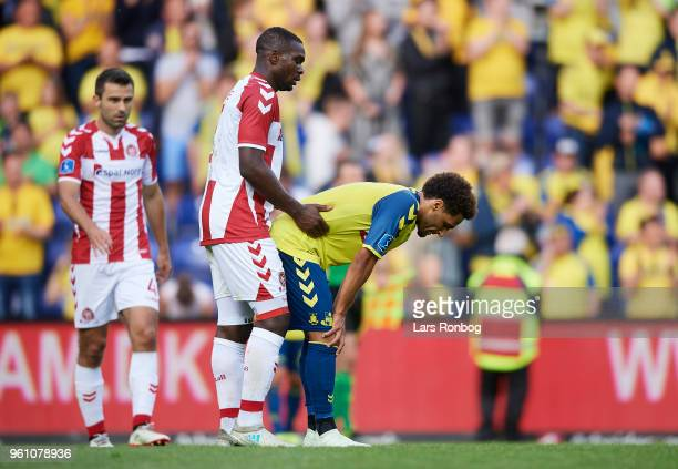 Jores Okore of AaB Aalborg and Hany Mukhtar of Brondby IF after the Danish Alka Superliga match between Brondby IF and AaB Aalborg at Brondby Stadion...