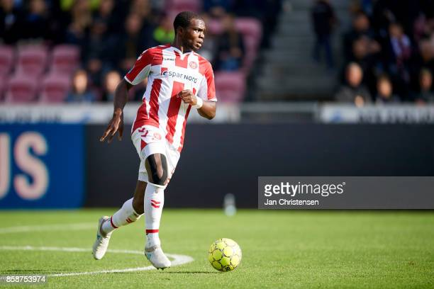 Jores Okore of AaB Aalborg controls the ball during the Danish Alka Superliga match between FC Midtjylland and AaB Aalborg at MCH Arena on October 01...