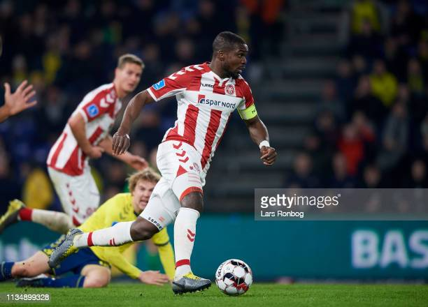 Jores Okore of AaB Aalborg controls the ball during the Danish Sydbank Pokalen Cup Semifinal match between Brondby IF and AaB Aalborg at Brondby...