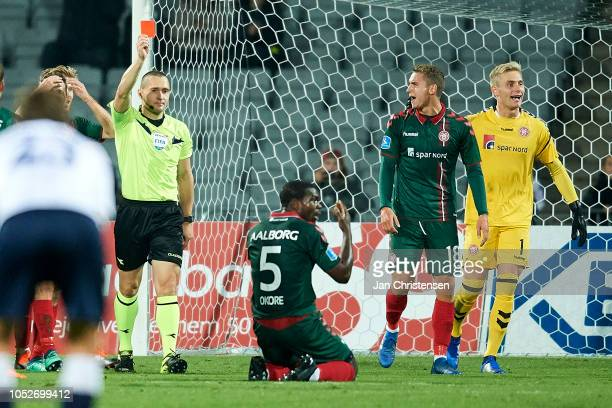 Jores Okore of AaB Aalborg get a red card from Referee MadsKristoffer Kristoffersen during the Danish Superliga match between AGF Arhus and AaB...