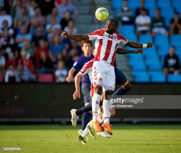 Jores Okore of AaB Aalborg heading the ball during the Danish Superliga match between AaB Aalborg and FC Midtjylland at Aalborg Portland Park on July...