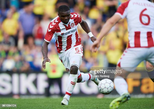 Jores Okore of AaB Aalborg in action during the Danish Alka Superliga match between Brondby IF and AaB Aalborg at Brondby Stadion on May 21 2018 in...