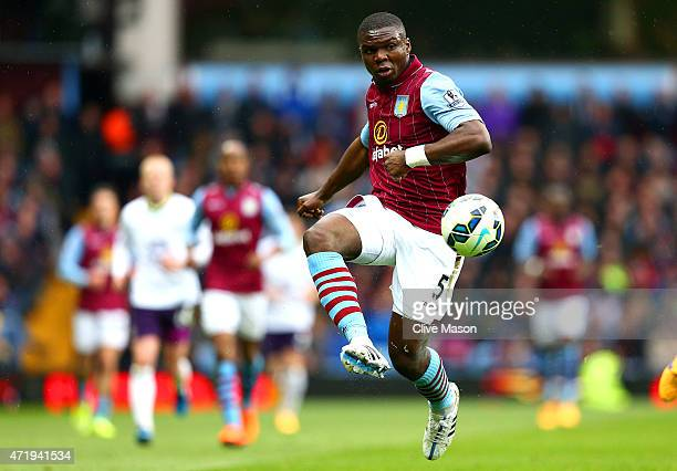 Jores Okore of Aston Villa controls the ball during the Barclays Premier League match between Aston Villa and Everton at Villa Park on May 2 2015 in...