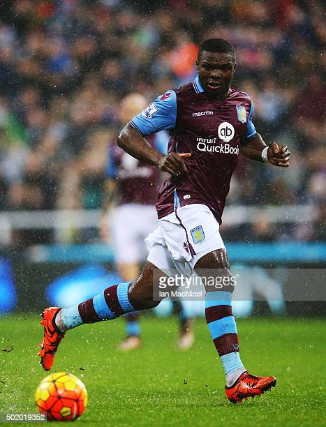 Jores Okore of Aston Villa controls the ball during the Barclays Premier League match between Newcastle and Aston Villa at St James Park on December...