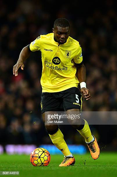 Jores Okore of Aston Villa controls the ball during the Barclays Premier League match between West Ham United and Aston Villa at The Boleyn Ground on...