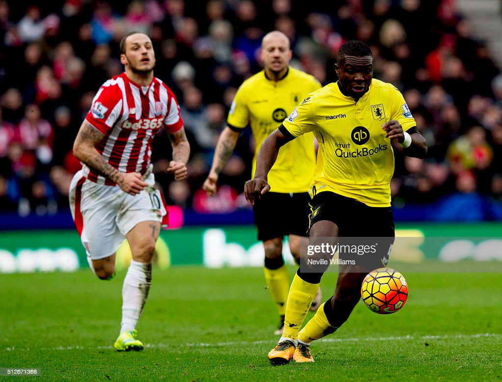 Jores Okore of Aston Villa during the Barclays Premier League match between Stoke City and Aston Villa at the Britannia Stadium on February 27, 2016 in Stoke on Trent, England.