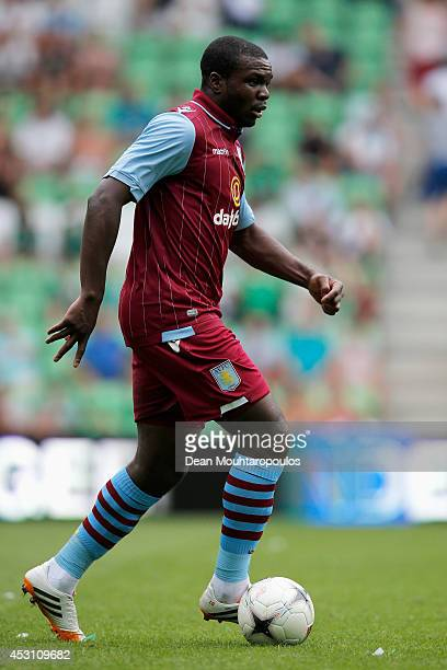 Jores Okore of Aston Villa in action during the pre season friendly match between FC Groningen and Aston Villa held at the Euroborg on August 2 2014...