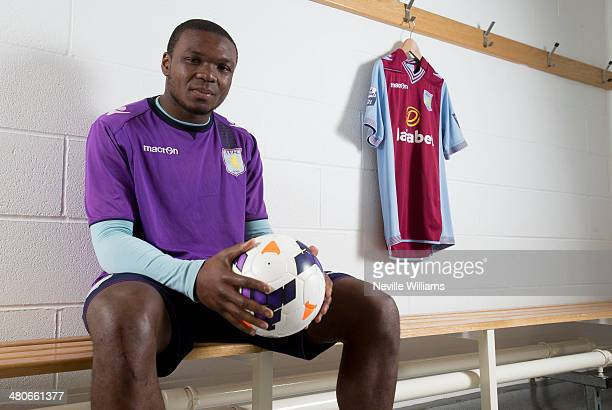 Jores Okore of Aston Villa poses for a picture at the club's training ground at Bodymoor Heath on March 25 2014 in Birmingham England