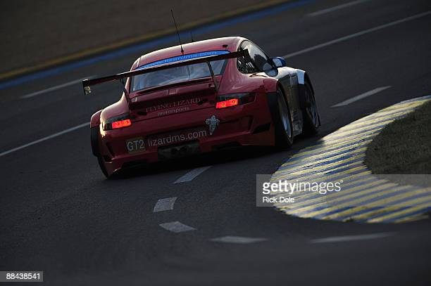 Jorg Bergmeister driving the Flying Lizard Motorsports Porsche during practice and qualifying for the 77th running of the Le Mans 24 Hour race at the...