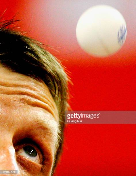 Jorg Rosskopf of Germany serves a ball during the men's singles match in the 48th World Table Tennis Championships at Shanghai Gymnasium on May 3,...