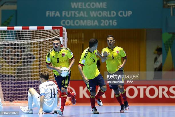 Jorge Abril of Colombia celebrates after scoring during the FIFA Futsal World Cup Group A match between Colombia and Uzbekistan at the Coliseo el...
