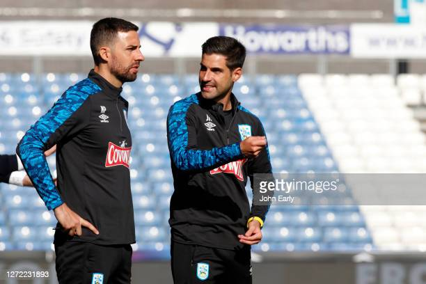 Jorge Alacón the assistant coach and Narcí Pèlach the assistant coach of Huddersfield Town during the Sky Bet Championship match between Huddersfield...