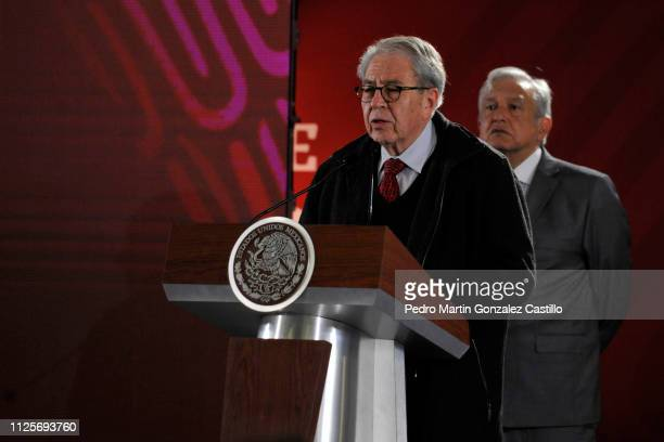 Jorge Alcocer Secretary of Health speaks during the daily briefing at the National Palace on January 28 2019 in Mexico City Mexico