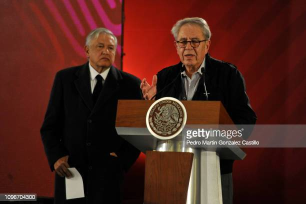 Jorge Alcocer speaks during a press conference to give details of the accident with a Pemex pipeline that took place in the state of Hidalgo at the...