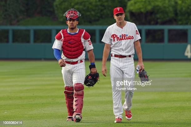 Jorge Alfaro and Nick Pivetta of the Philadelphia Phillies before a game against the Colorado Rockies at Citizens Bank Park on June 13 2018 in...