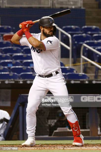 Jorge Alfaro of the Miami Marlins at bat against the Boston Red Sox at Marlins Park on September 15, 2020 in Miami, Florida.
