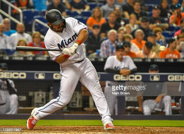 Jorge Alfaro of the Miami Marlins at bat in the fifth inning against the Colorado Rockies during Opening Day at Marlins Park on March 28 2019 in...
