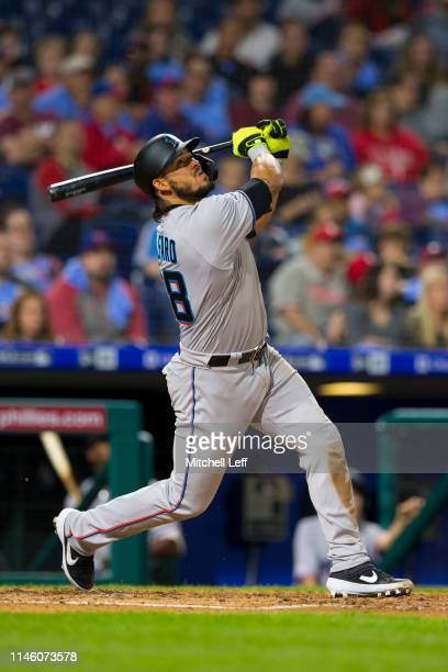 Jorge Alfaro of the Miami Marlins bats against the Philadelphia Phillies at Citizens Bank Park on April 25 2019 in Philadelphia Pennsylvania