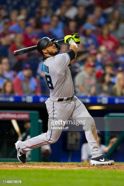 Jorge Alfaro of the Miami Marlins bats against the Philadelphia Phillies at Citizens Bank Park on April 25, 2019 in Philadelphia, Pennsylvania.