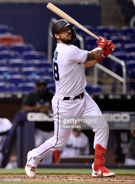 Jorge Alfaro of the Miami Marlins bats against the Toronto Blue Jays at Marlins Park on September 01, 2020 in Miami, Florida.
