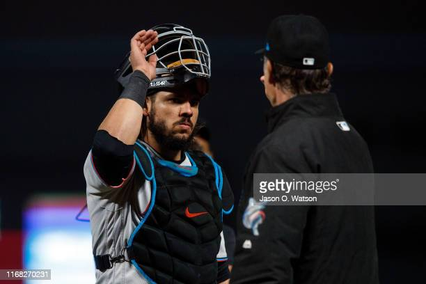 Jorge Alfaro of the Miami Marlins celebrates with manager Don Mattingly after the game against the San Francisco Giants at Oracle Park on September...